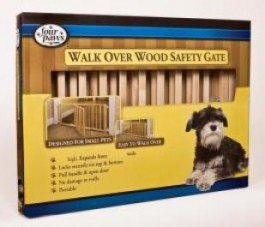 Four Paws Vertical Wood Slat Walk Over Gate with Door 30-44W x 18H