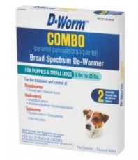 D-Worm Combo Broad Spectrum De-Wormer for Puppies & Small Dogs 6 to 25lb 2 ct