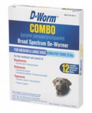 D-Worm Combo Broad Spectrum De-Wormer for Medium & Large Dogs Over 25lb 12ct