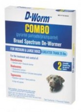 D-Worm Combo Broad Spectrum De-Wormer for Medium & Large Dogs Over 25lb 2ct