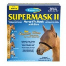 Farnam SuperMask II Horse Fly Mask w/Ears Shimmer Weace Mesh Horse Copper Black