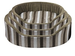 Benin Soft Brown Striped Nest Of 3 Dog Beds""