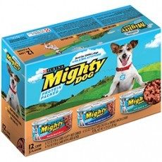 Purina Mighty Dog Variety Pack Hearty Beef Dinner, Chicken & Smoked Bacon Combo and with Lamb & Rice Dog Food 12-5.5 oz. Cans