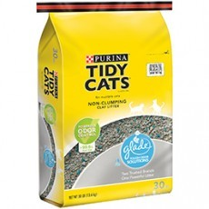 Purina Tidy Cats Non-Clumping Cat Litter with Glade Tough Odor Solutions for Multiple Cats 30 lb. Bag