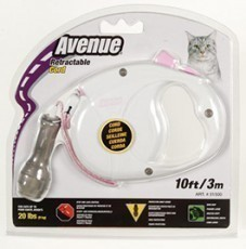 Avenue Retractable Cord Leash for Cats, 10 feet, White and Pink