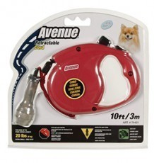 Avenue Retractable Cord Leash for Dogs, Extra Small, 10 feet, Red