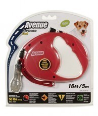 Avenue Retractable Cord Leash for Dogs, Small, 16 feet, Red
