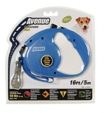 Avenue Retractable Cord Leash for Dogs, Small, 16 feet, Blue