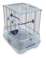 Vision Small Bird Cage #S01, 19 inches x 15 inches x 20 inches, Small Wire, Single Height, Blue Perches & Food/Water Dishes