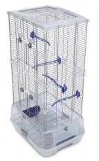 Vision Small Bird Cage #S02, 19 inchesx 15 inches x 33 inches, Small Wire, Double Height, Blue Perches & Food/Water Dishes