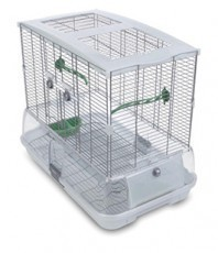 Vision Medium Bird Cage #M01, 25 inches x 16 inches x 21 inches, Small Wire, Single Height, Green Perches & Food/Water Dishes