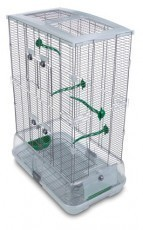 Vision Medium Bird Cage #M02, 25 inches x 16 inches x 34 inches, Small Wire, Double Height, Green Perches & Food/Water Dishes
