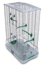Vision Medium Bird Cage #M12, 25 inches x 16 inches x 34 inches, Large Wire, Double Height, Green Perches & Food/Water Dishes