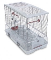 Vision Large Bird Cage #L01, 31 inches x 17 inches x 22 inches, Small Wire, Single Height, Terracotta Perches & Food/Water Dishes