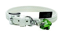 Dogit Style Faux Leather Collar - Milano, White with green butterfly glass pendent, X-Small, 7/16 inches x 7.8 inches