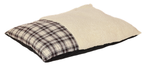 Happy Tails Classic Dog Bed - Plaid Bed - Brown