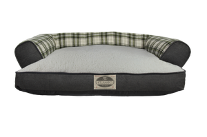 Happy Tails Classic Bed - Plaid Denim/Sherpa Sofa Dog Bed Memory Foam - Green