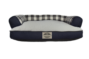 Happy Tails Classic Beds - Plaid Denim/Sherpa Sofa Dog Bed Memory Foam - Blue