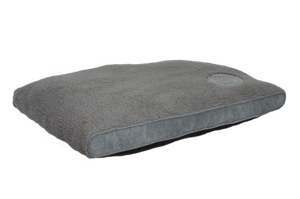 Happy Tails Classic Bed - Corduroy Sherpa Logo patch Dog Bed Gray