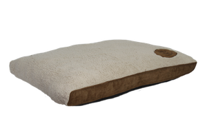 Happy Tails Classic Dog Bed - Corduroy Sherpa Logo patch Bed - Brown