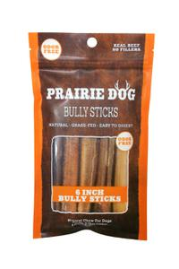 Prairie Dog Pet Products Odor Free Grass-Fed Bully Sticks, 6 inch, 5 count bag