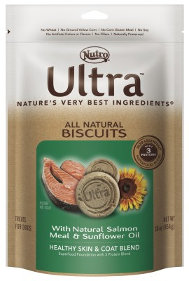 Ultra All Natural Biscuits Healthy Skin & Coat Blend With Natural Salmon Meal & Sunflower Oil 16 oz.