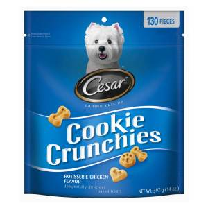 Cesar Cookie Crunchies Rotisserie Chicken Baked Treats For Dogs 14 Ounces 130 Treats