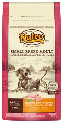 Nutro Small Breed Adult Dog Food Chicken, Whole Brown Rice and Oatmeal Recipe Dog Food 4 Pounds
