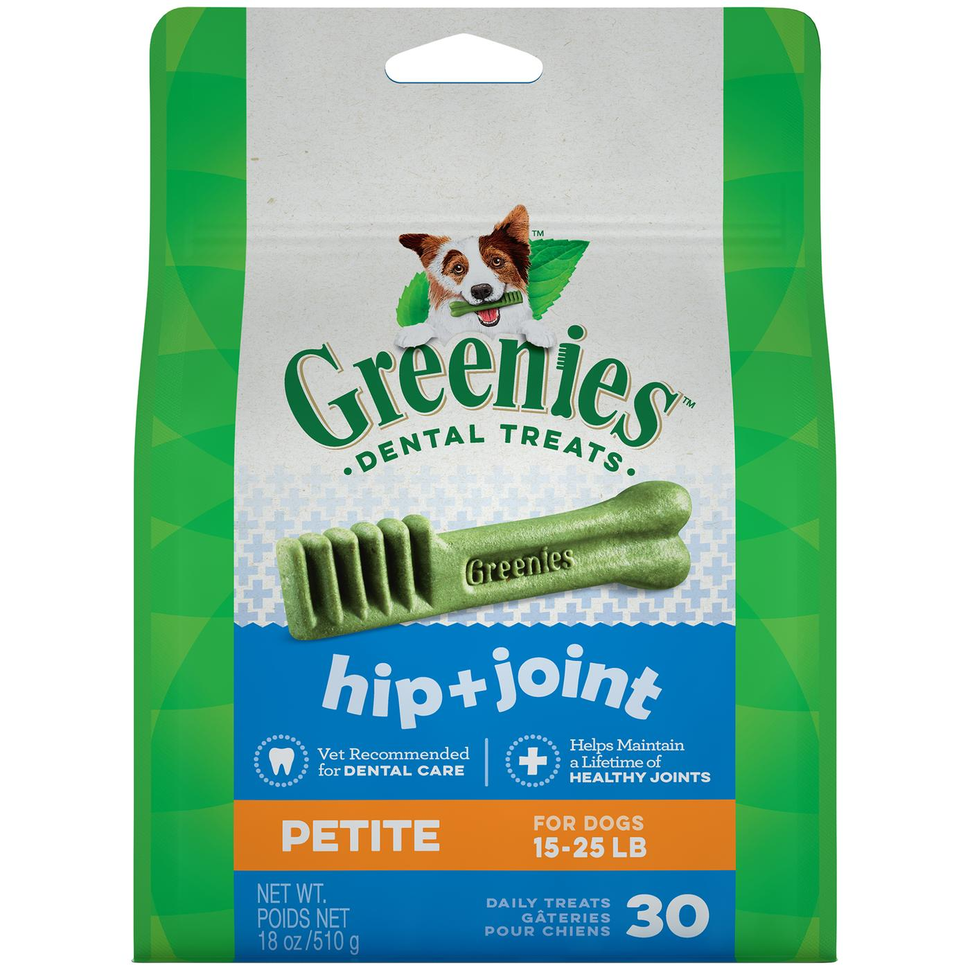 Greenies Hip And Joint Petite Dental Dog Chews - 18 Ounces 30 Treats