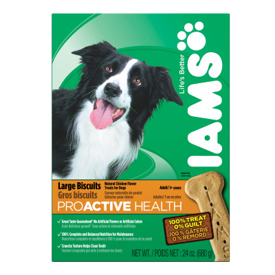 IAMS Proactive Health Adult Dog Large Biscuits Natural Chicken Flavor 24 Ounces
