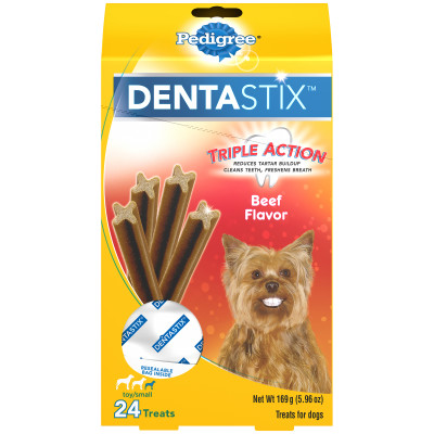 Pedigree Dentastix Beef Flavor Toy/Small Treats For Dogs - 6 Ounces 24 Treats