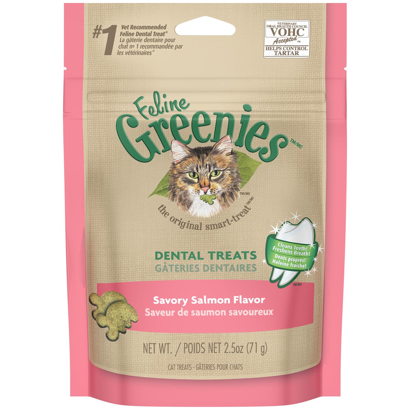 Feline Greenies Dental Treats For Cats Savory Salmon Flavor 2.5 Oz.