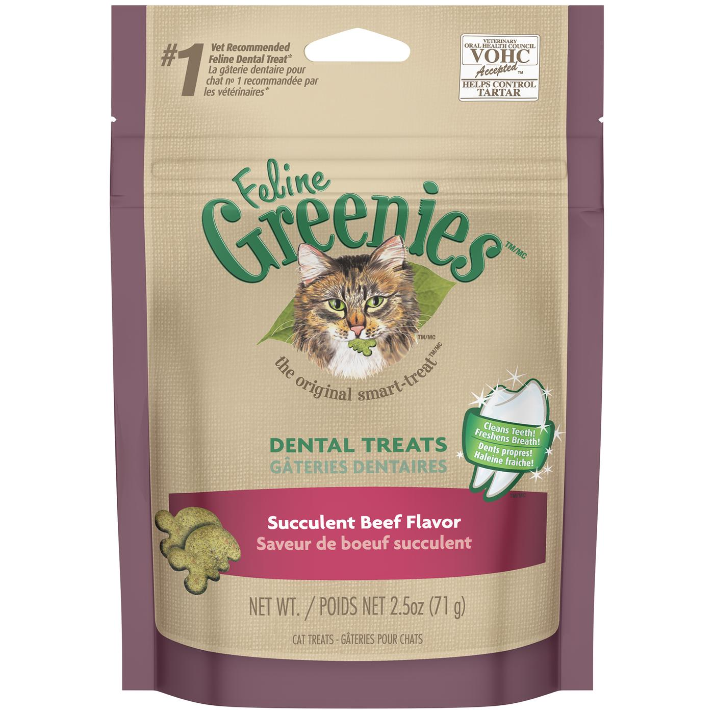 Feline Greenies Dental Treats For Cats Succulent Beef Flavor 2.5 Oz.