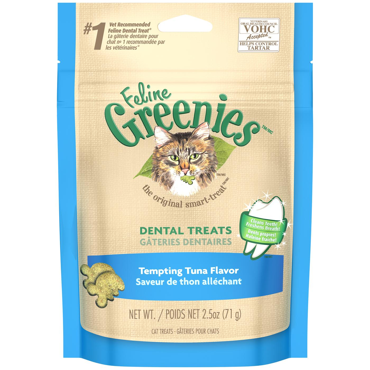 Feline Greenies Dental Treats For Cats Tempting Tuna Flavor 2.5 Oz.