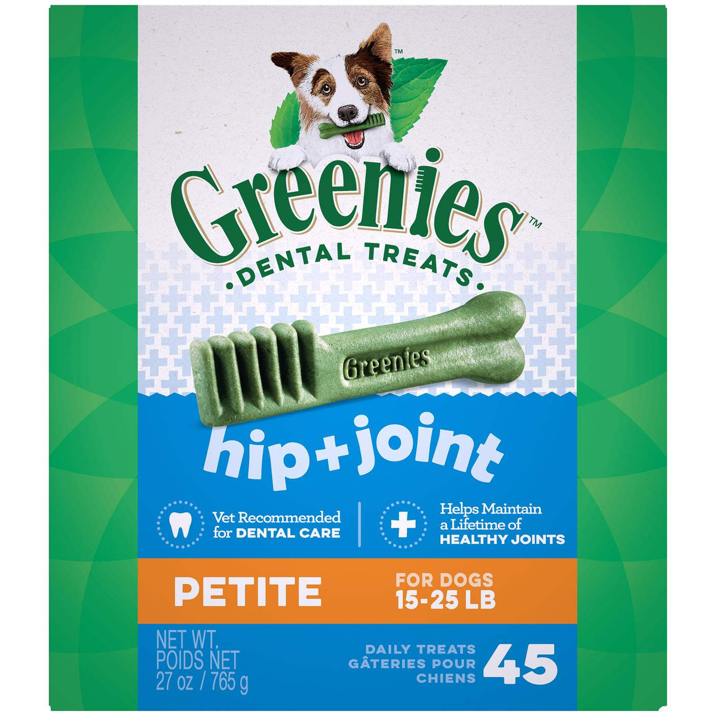 Greenies Hip And Joint Petite Dental Dog Chews - 27 Ounces 45 Treats