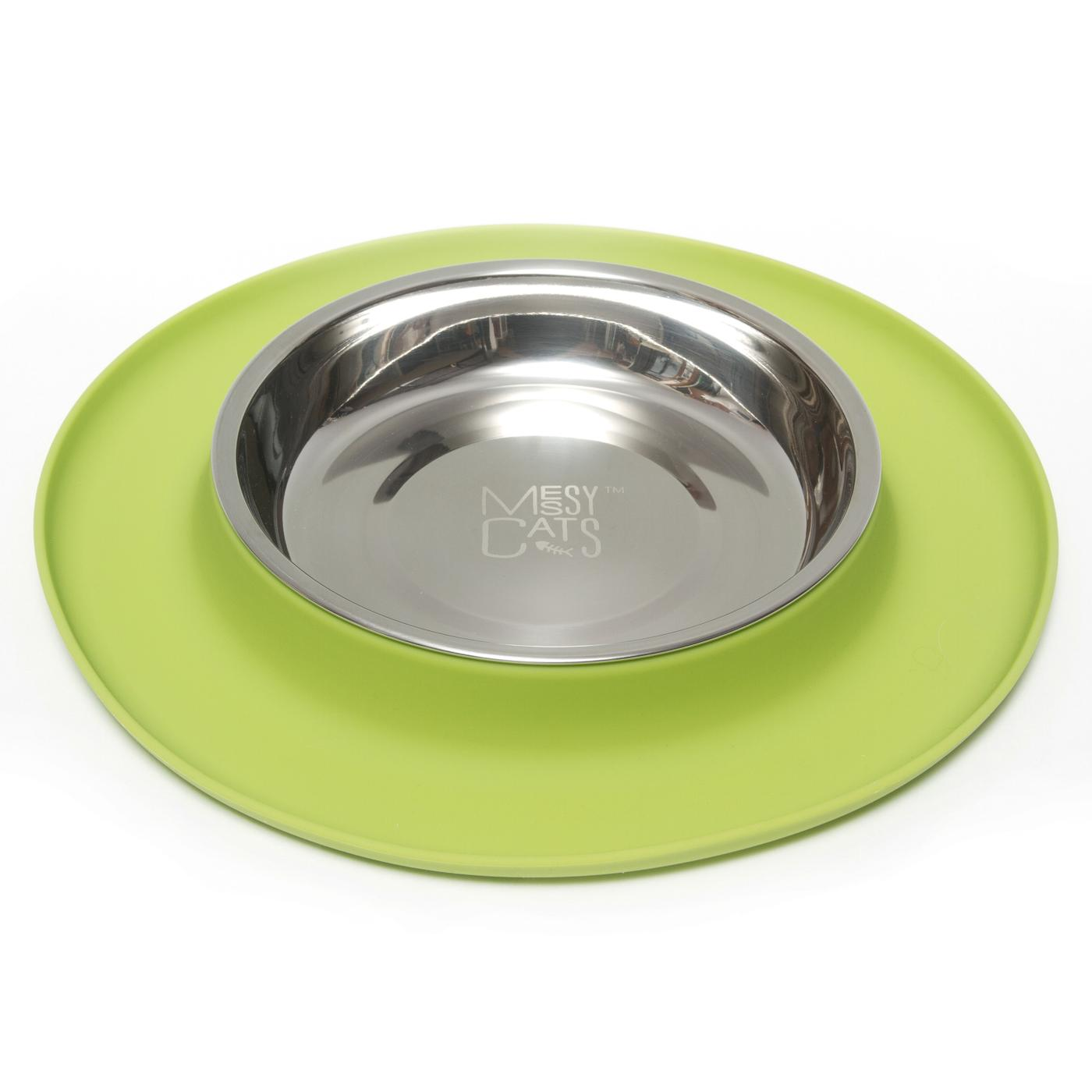 Messy Cats Silicone Feeder, Medium, Green