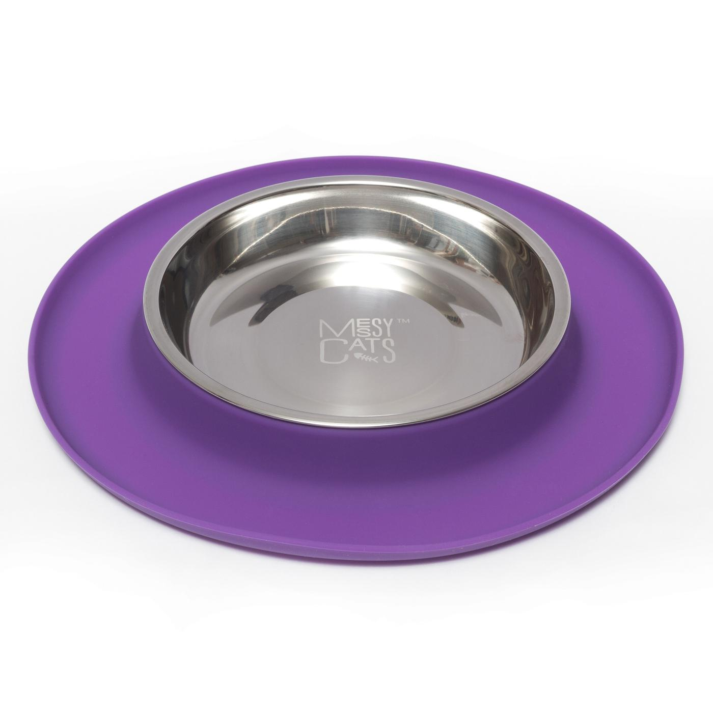 Messy Cats Silicone Feeder, Medium, Purple