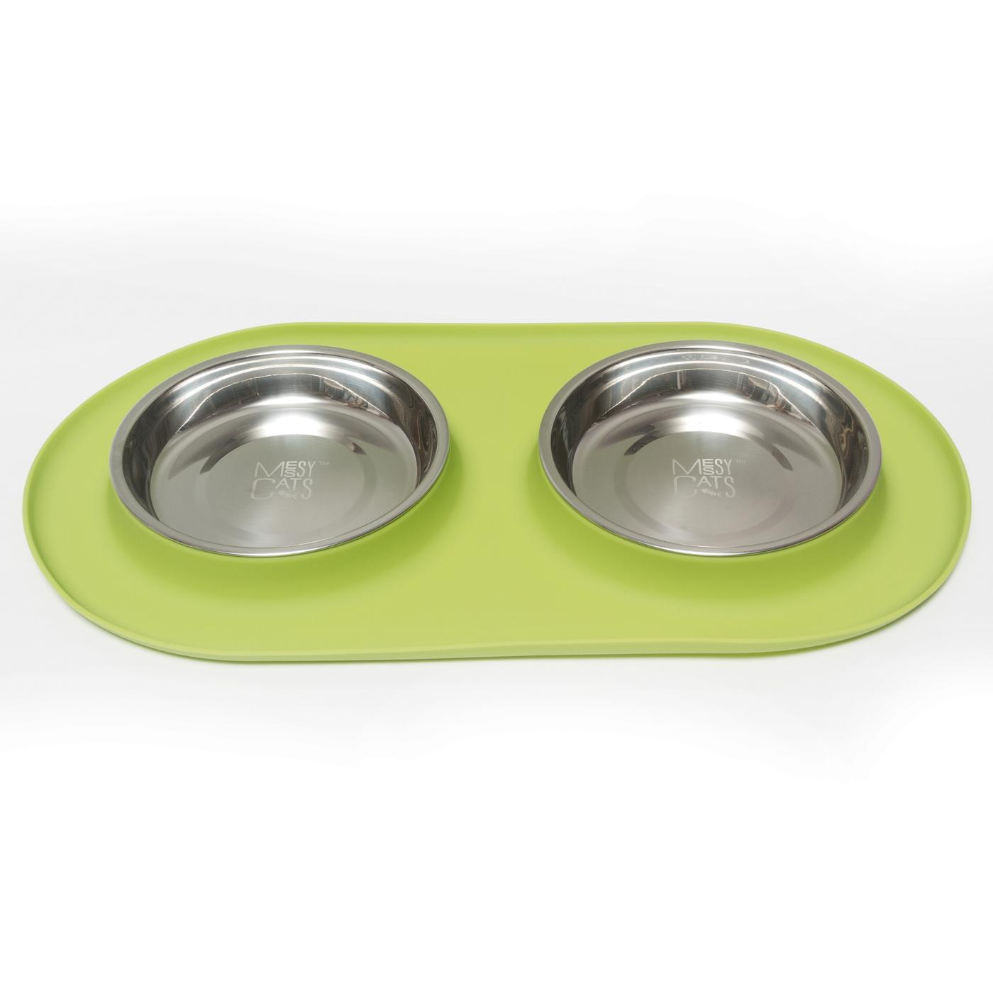 Messy Cats Double Silicone Feeder, Medium, Green