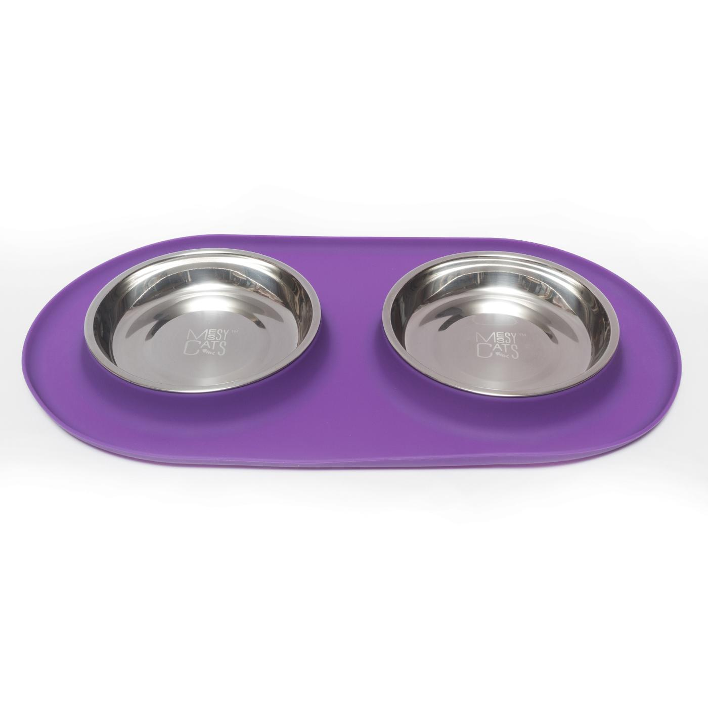 Messy Cats Double Silicone Feeder, Medium, Purple