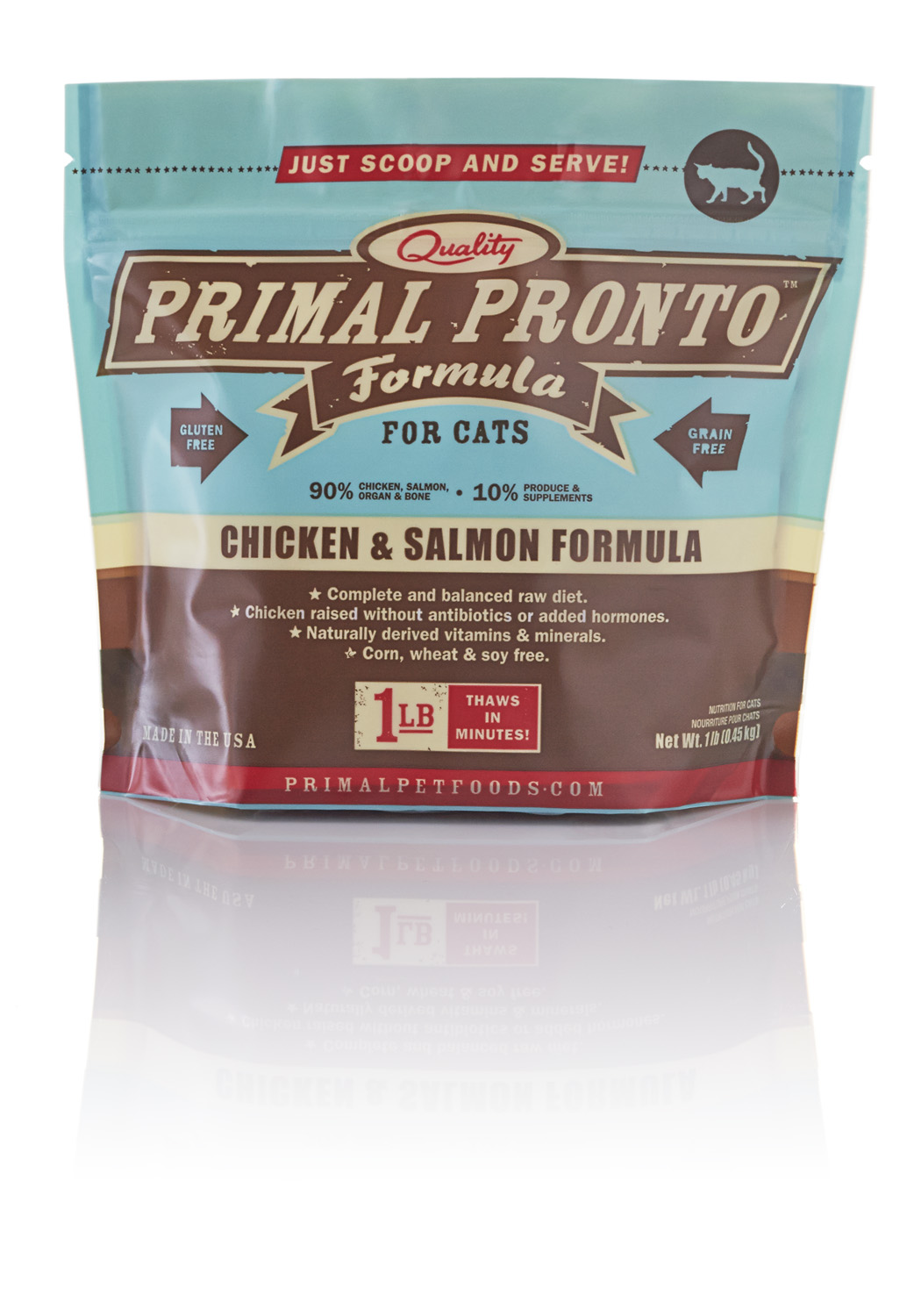 Primal Feline Pronto Raw Frozen Chicken & Salmon Formula, 1 lb.