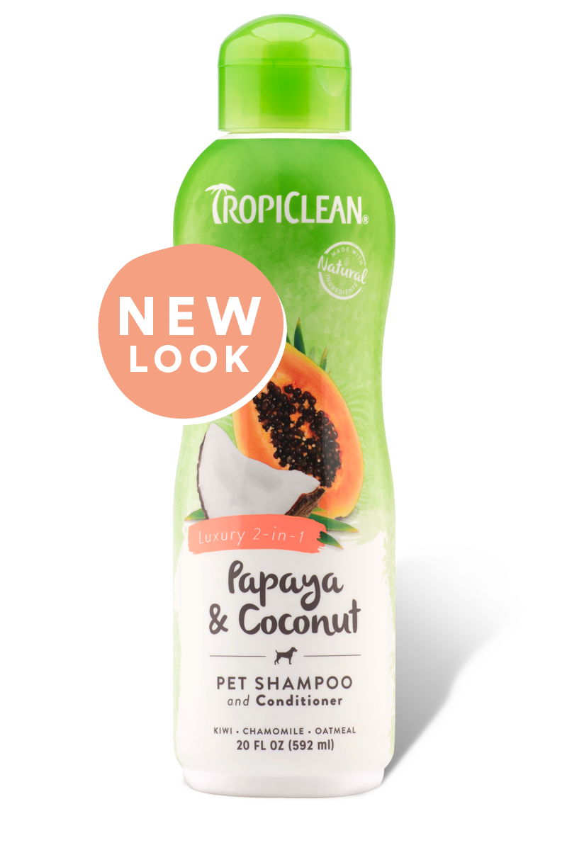 TropiClean Papaya & Coconut Luxury 2 in 1 Pet Shampoo & Conditioner, 20 oz.