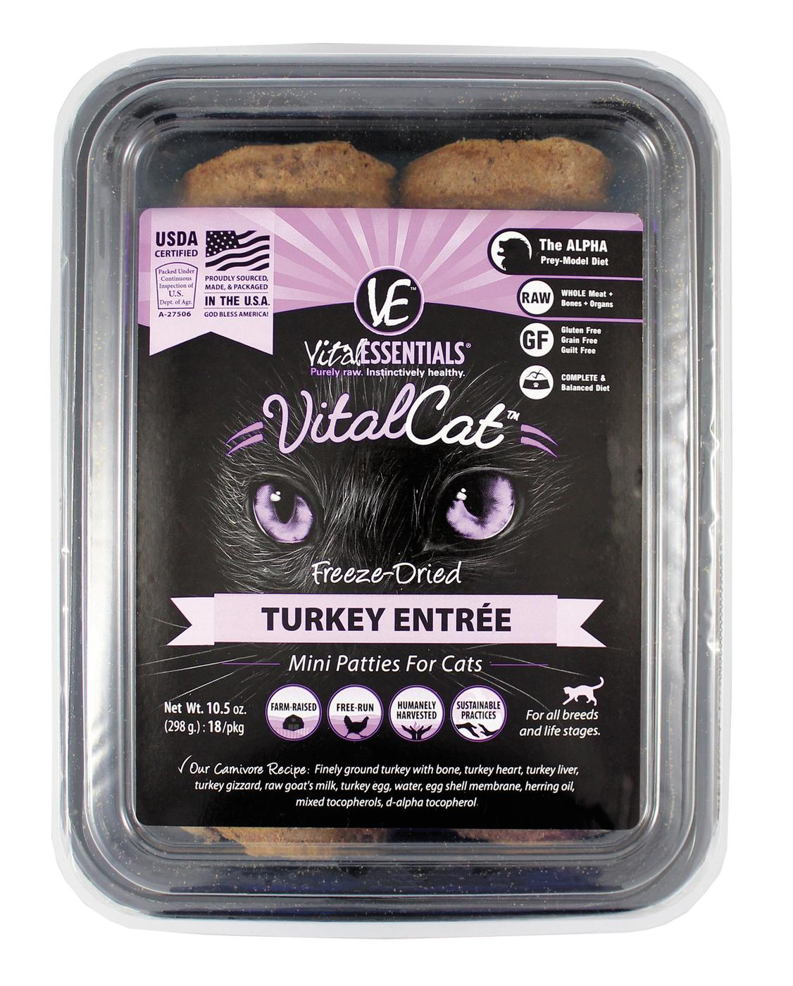 Vital Essentials Vital Cat Freeze-Dried Turkey Mini Patties Entrée