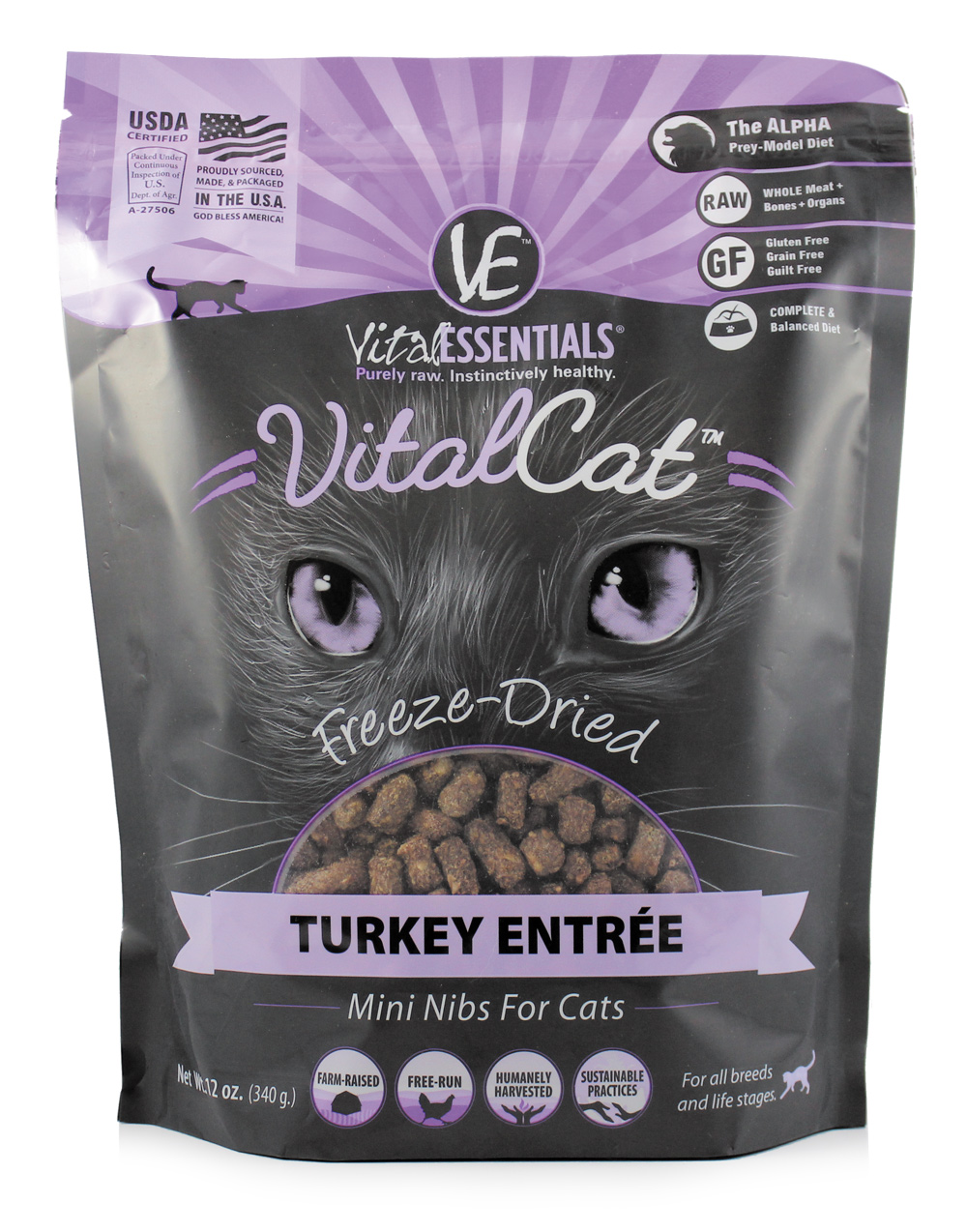 Vital Essentials Vital Cat Freeze-Dried Turkey Mini Nibs Entrée