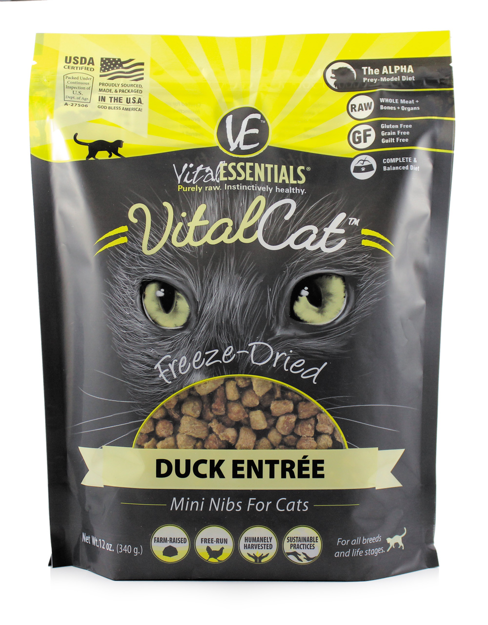 Vital Essentials Vital Cat Freeze-Dried Duck Mini Nibs Entrée