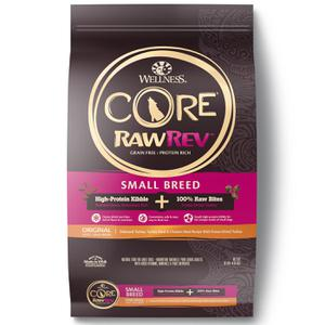 Wellness CORE Grain Free RawRev Small Breed Original Deboned Turkey, Turkey Meal & Chicken, With Freeze Dried Turkey Dry Dog Food, 10 lb