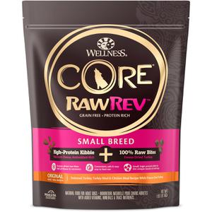Wellness CORE Grain Free RawRev Small Breed Original Deboned Turkey, Turkey Meal & Chicken, With Freeze Dried Turkey Dry Dog Food, 4 lb
