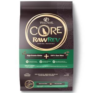 Wellness CORE Grain Free RawRev Wild Game Duck, Lamb Meal, Wild Boar & Rabbit With Freeze Dried Lamb Dog Food, 10 lb