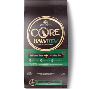Wellness CORE Grain Free RawRev Wild Game Duck, Lamb Meal, Wild Boar & Rabbit With Freeze Dried Lamb Dog Food, 18 lb
