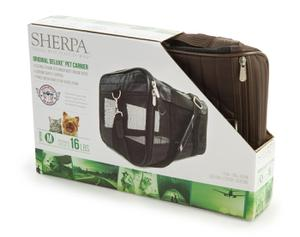 Sherpa Travel Original Deluxe Pet Carrier, Medium, Brown