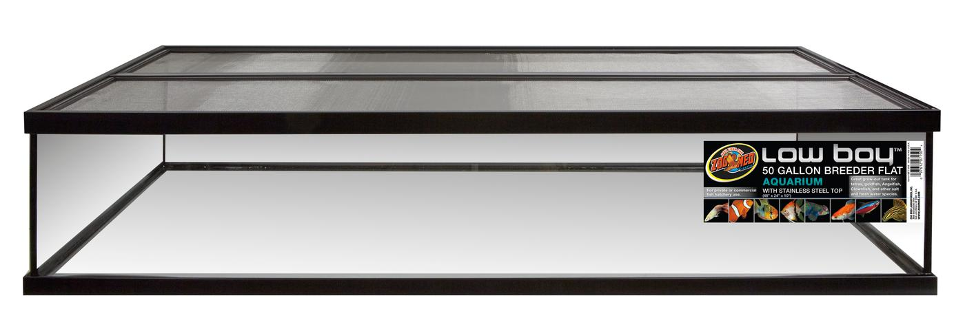 "Zoo Med Low Boy Aquarium 50 gallon Breeder Flat with Stainless Steel Screen Top, 50 gal/ 48""x24""x10"""